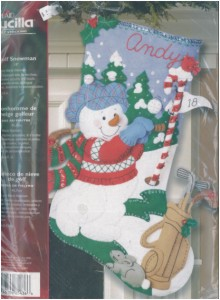 GOLF SNOWMAN FELT STOCKING