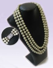 JAPANESE SHELL PEARL NECKLACE WITH DIAMONTE CLASP (PM1)